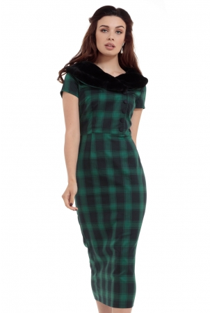 Rachel Tartan Pencil Dress With Fur Collar