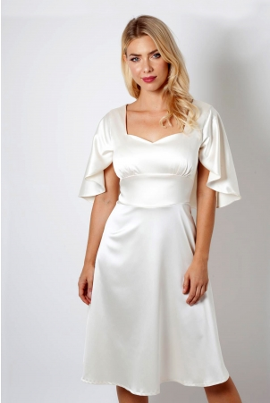 Bonnie Bridal Satin Caped Dress