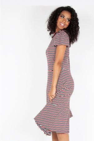 Corinna Striped Neck Tie Dress
