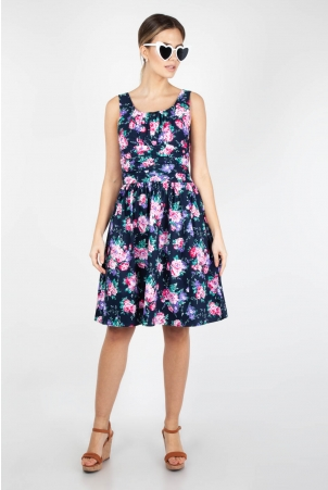 Ethal Navy Floral Summer Dress