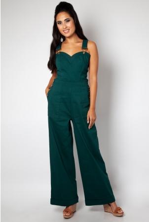Lelani Green Wide Leg Overalls