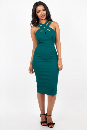 Lillian Teal Cross Neck Wiggle Dress