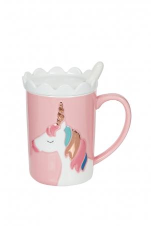 Pink Unicorn Mug With Coaster