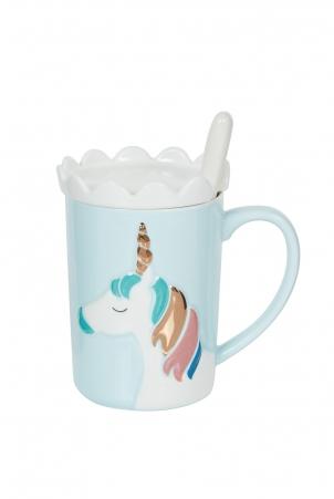 Blue Unicorn Mug With Coaster