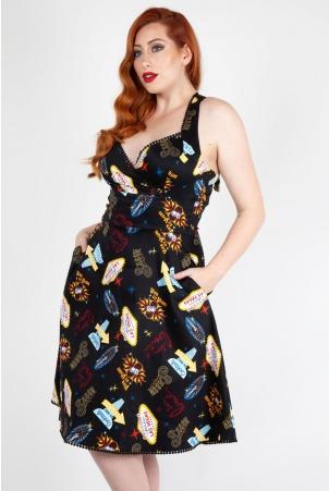 Lucy Vegas Print Black Flared Dress