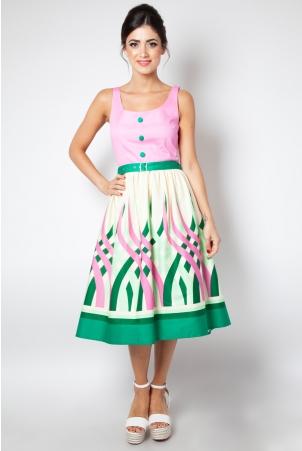 Sabrina Watermelon Border Print Flared Dress