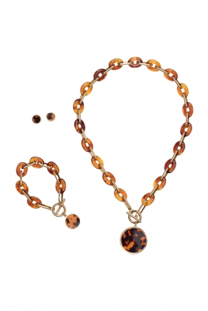 Amber Three Piece Jewellery Set