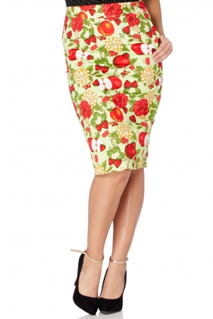 Pippin Apple Print Pencil Skirt