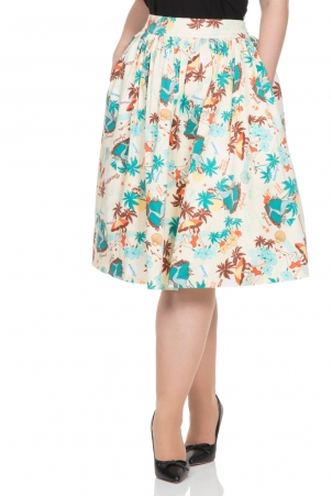 Lena Tropical Print Skirt
