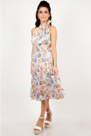 Tabby High Neck Fan Print Summer Dress