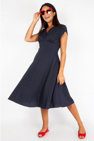 Tabby Navy Polka Dot Tea Dress