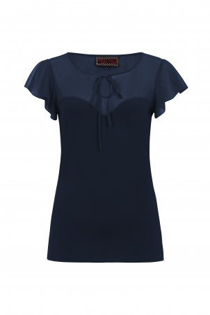 Samantha Mesh Top Navy