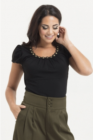 Debbie Daisy Gold Trim Top