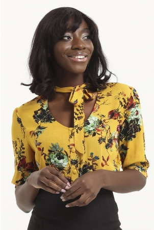 Katherine 40s Style Mustard Floral Blouse