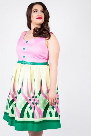 Vixen Curve Polly Colour Wheel Border Print Flared Dress