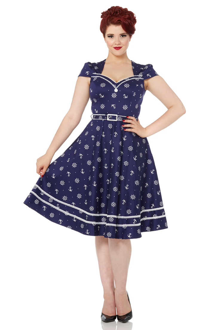 Joni Flared Nautical 50s Dress