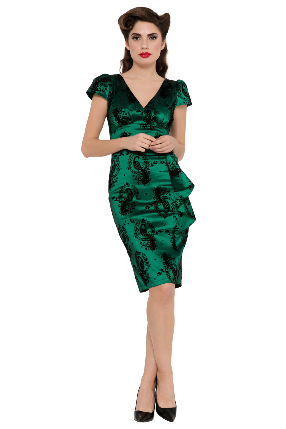 Candy Ann Green Peacock Print Dress
