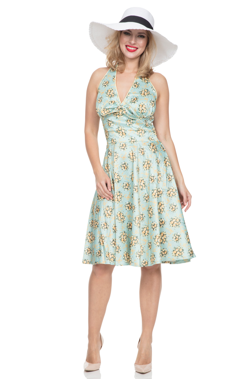 Grace Flared & Floral Halterneck Dress
