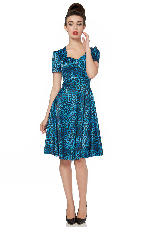 Camille Blue Leopard Print Dress