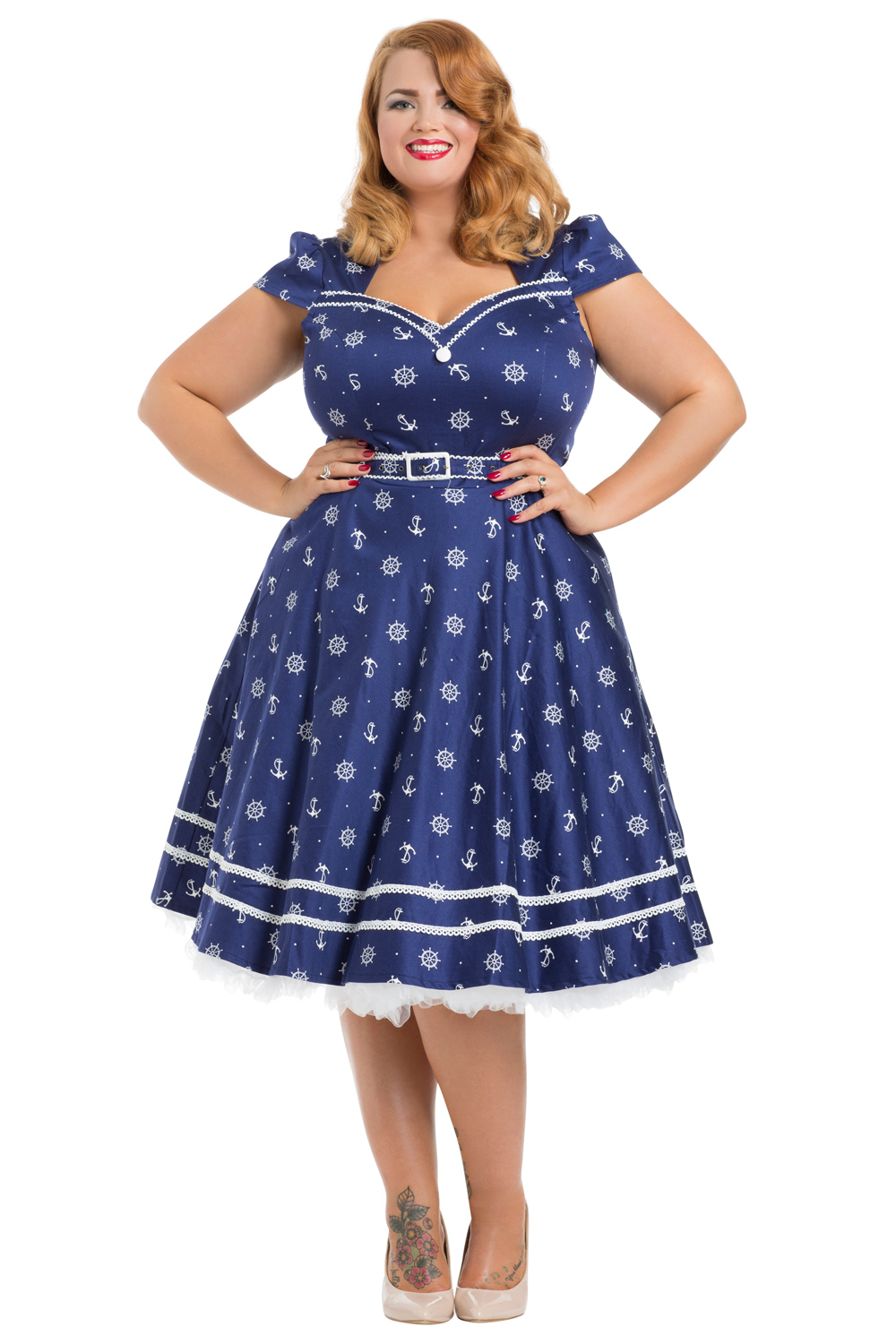 Joni Plus Size Nautical 50s Dress