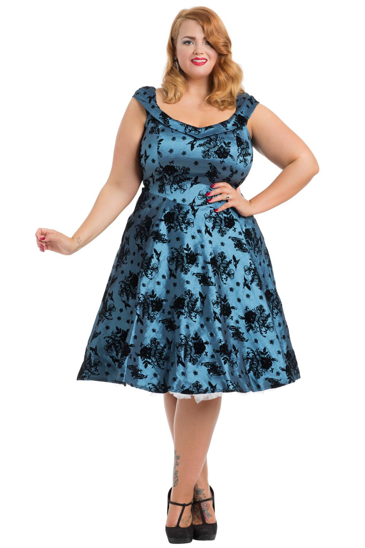 Holly Plus Size Blue Taffeta Dress