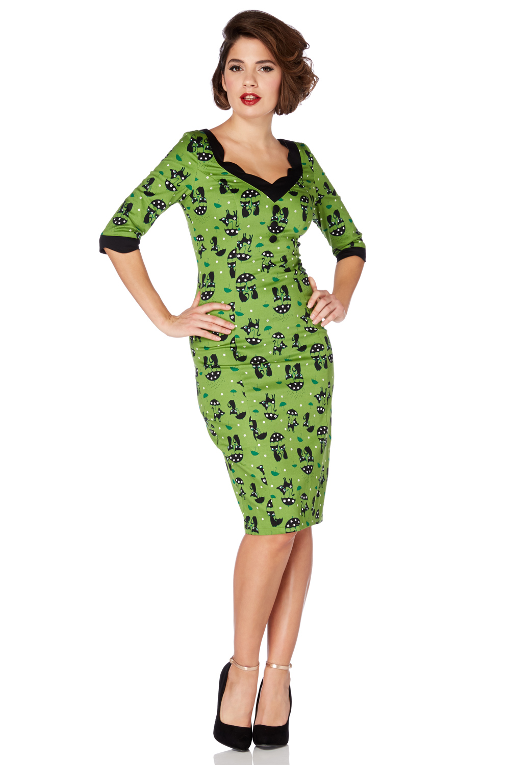 Jade Kat Green Cat in the Rain Wiggle Dress