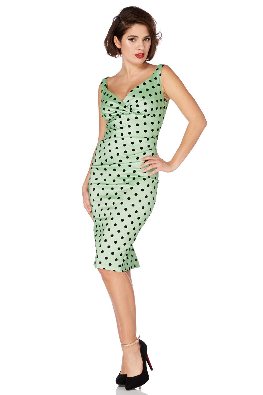 Selena Polka Dot Wiggle Green Dress