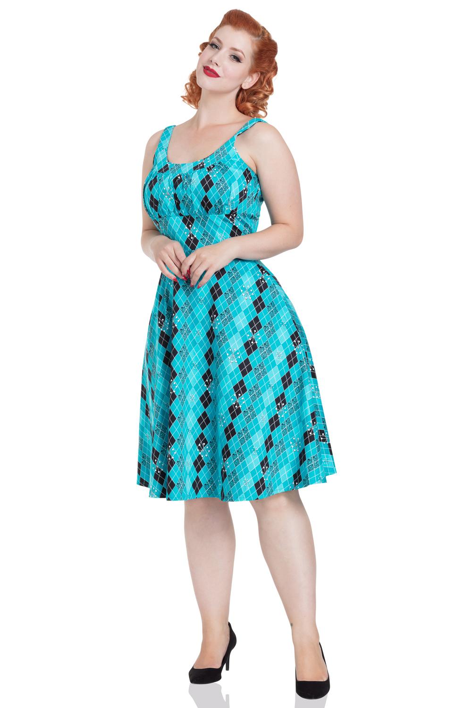 Nikki Flared Rhombus Print Dress