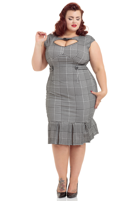 Eve Flocked Houndstooth Plus Size Dress