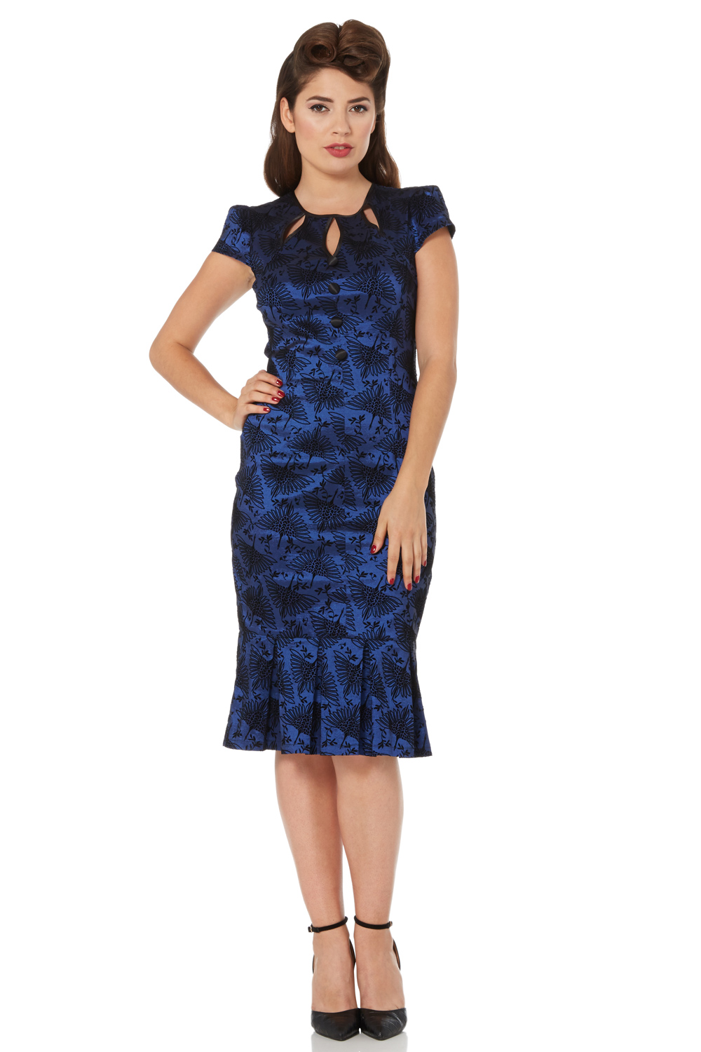 Correna Heron Flocked Wiggle Dress