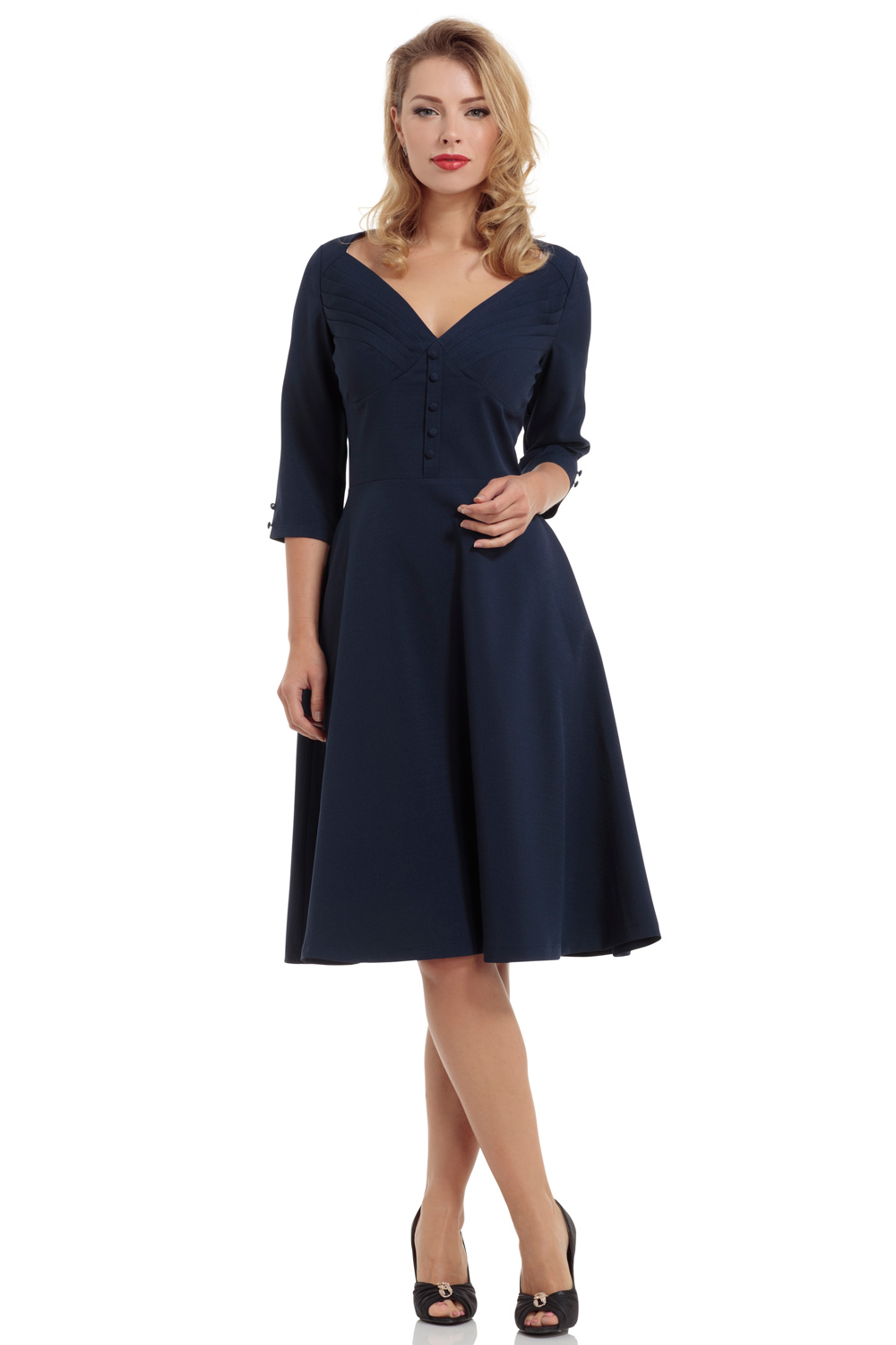 Laura A-line Navy Blue Dress