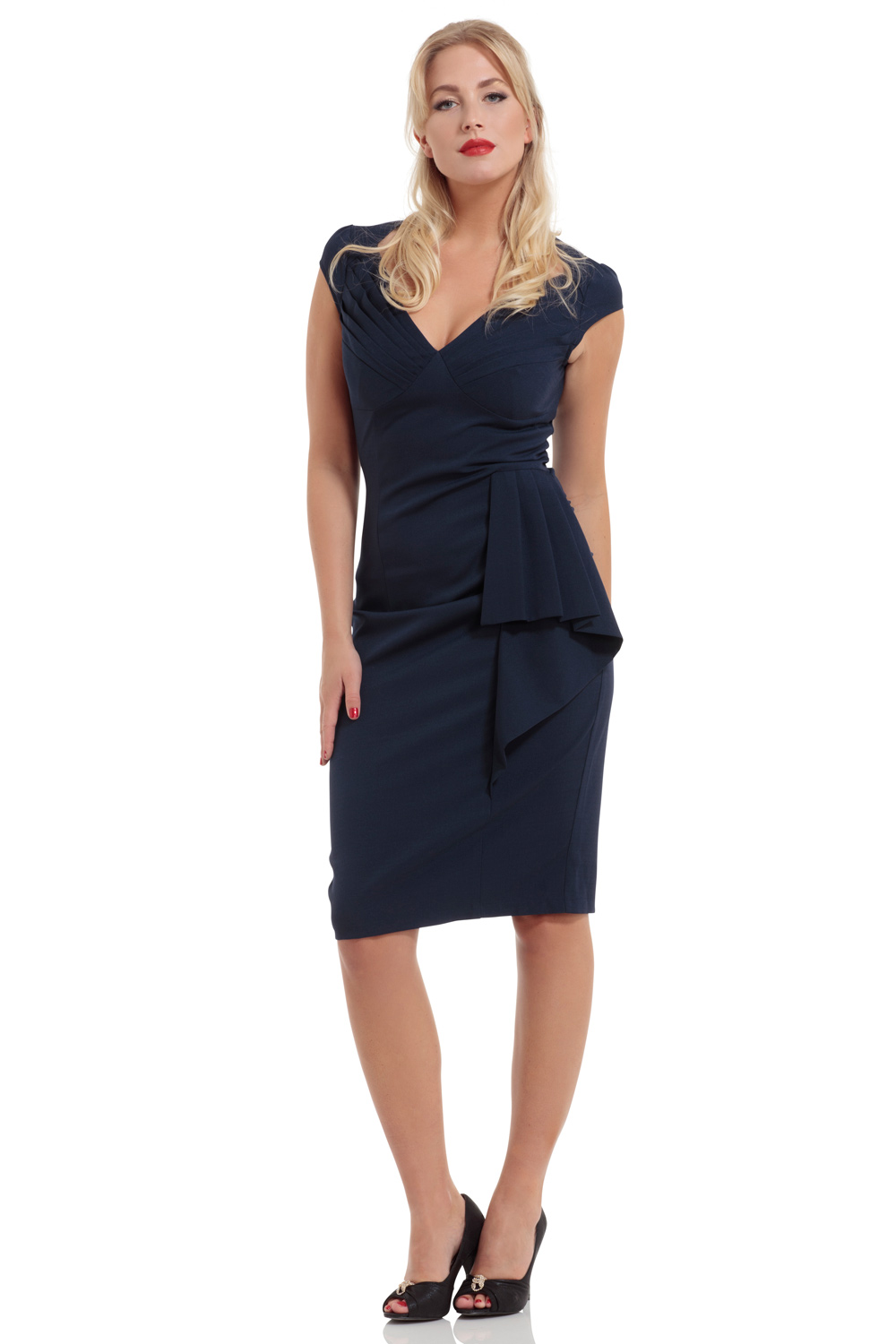 Khloe Ruffle Navy Blue Pencil Dress