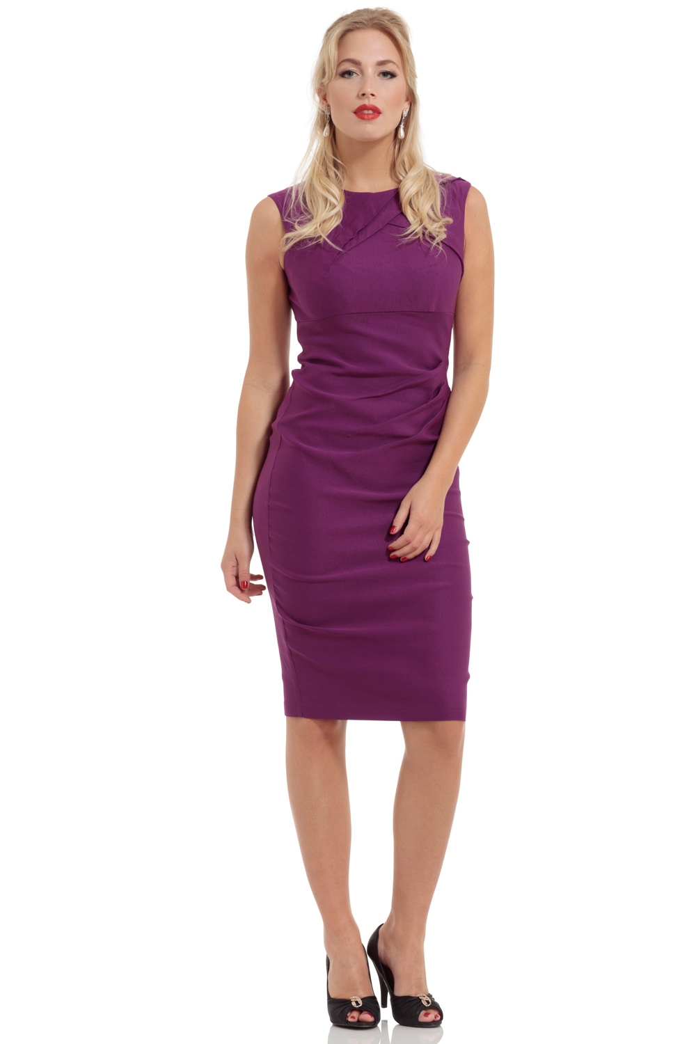 Claudette Ruche Purple Pencil Dress
