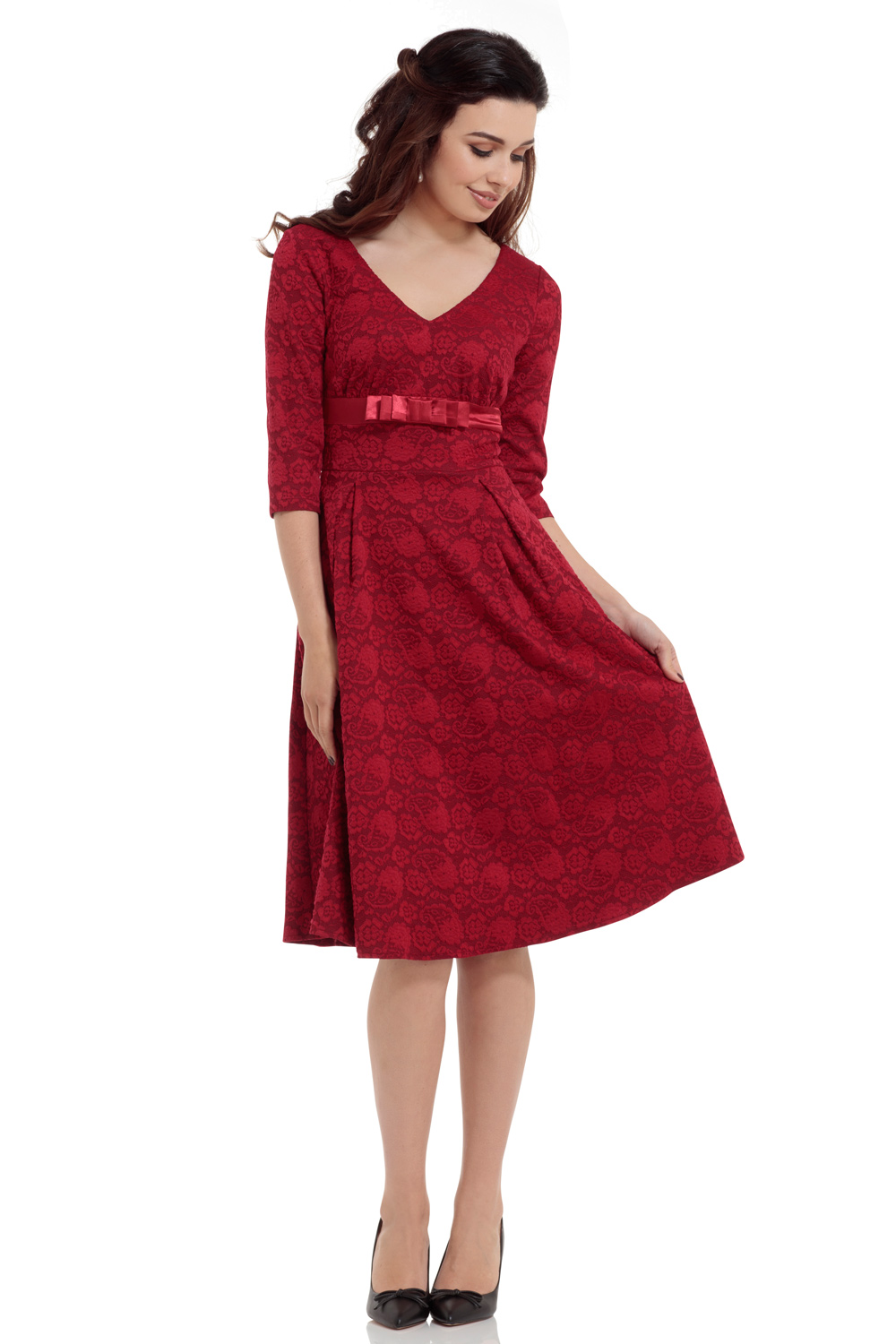 Jane Red Paisley Midi Dress