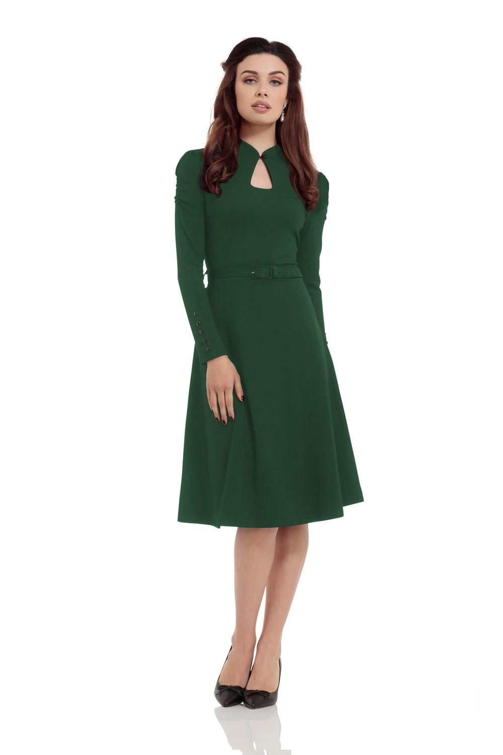 Dita 50s Flared Green Dress with Cut-out