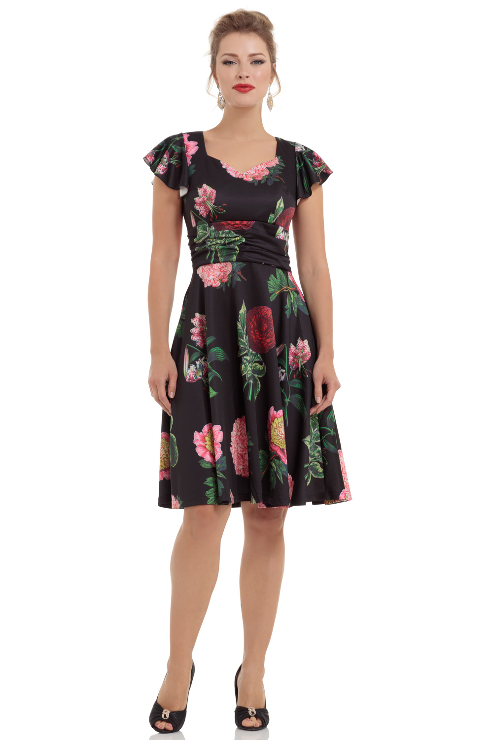Mabel Black Floral Flare Dress