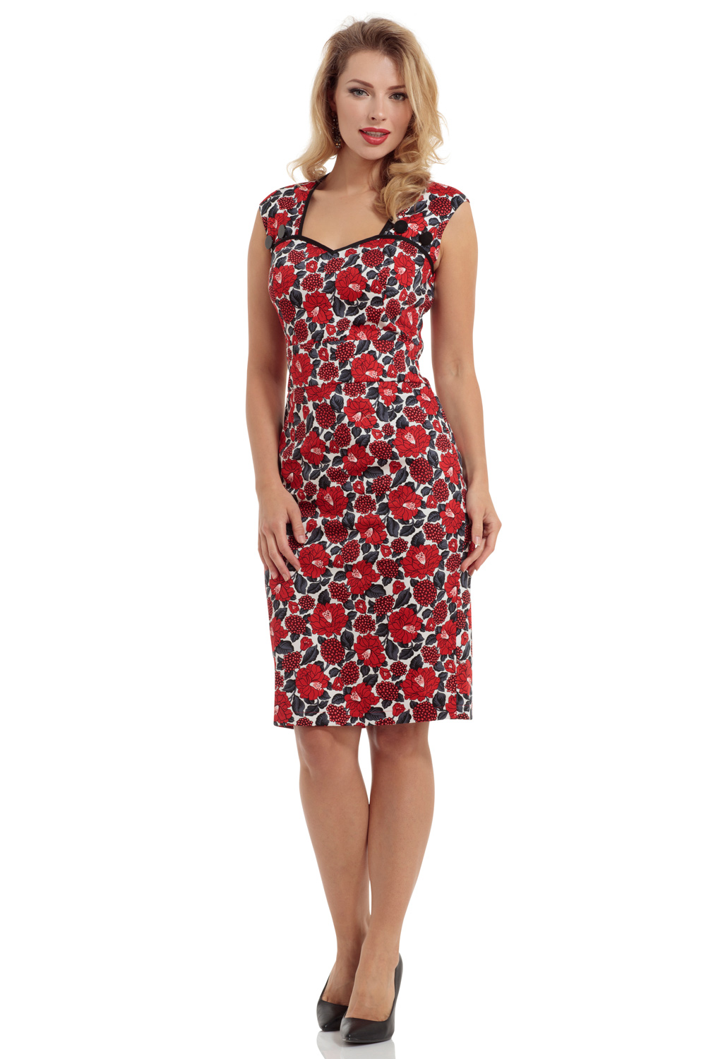 Sienna Red Floral Pencil Dress