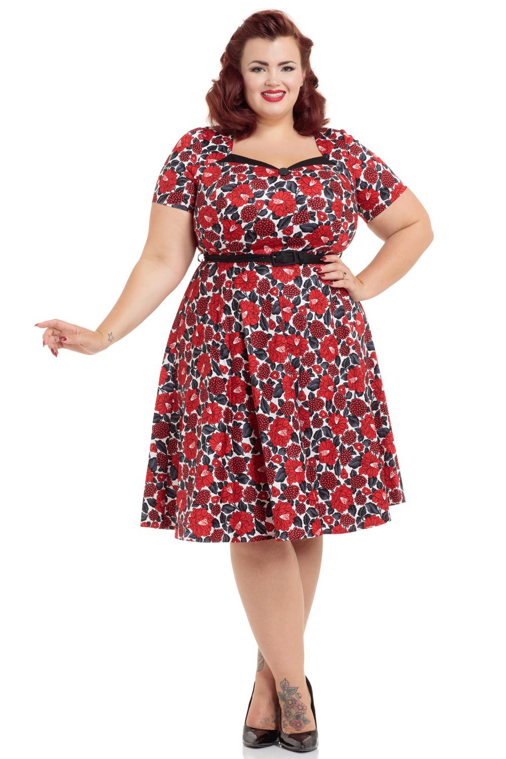Poppy Red Floral Skater Plus Size Dress