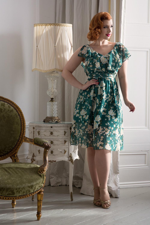 Agatha Split Sleeve Green Floral Dress