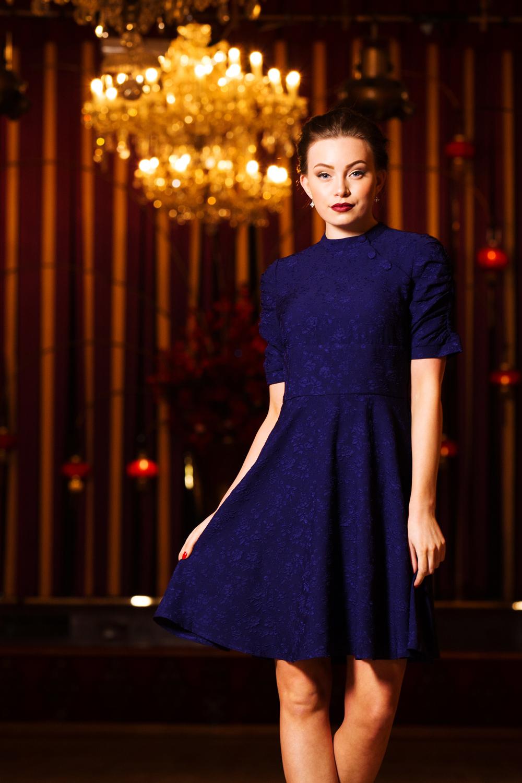 Maribelle Blue Jaquard Dress