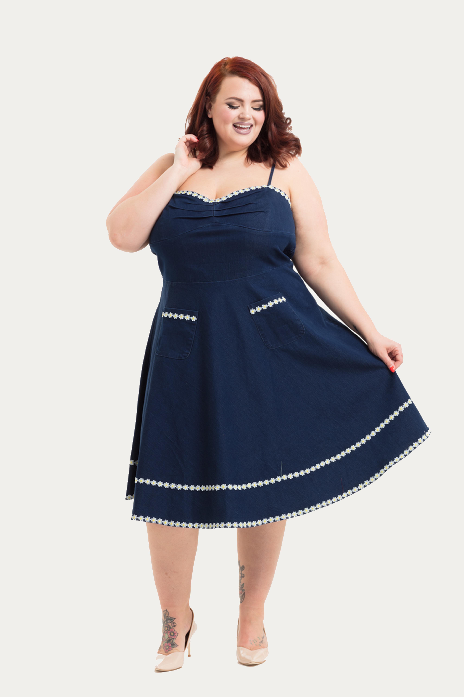 Daisy May Denim Plus Size Flared Dress