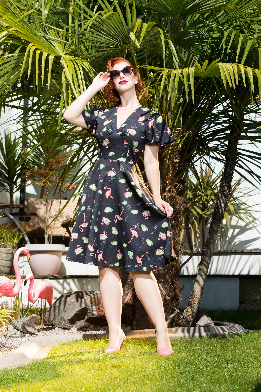 Lena Flamingo Print Tea Dress