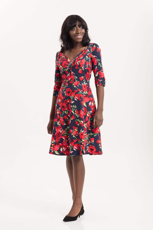 Rose Floral Swing Dress