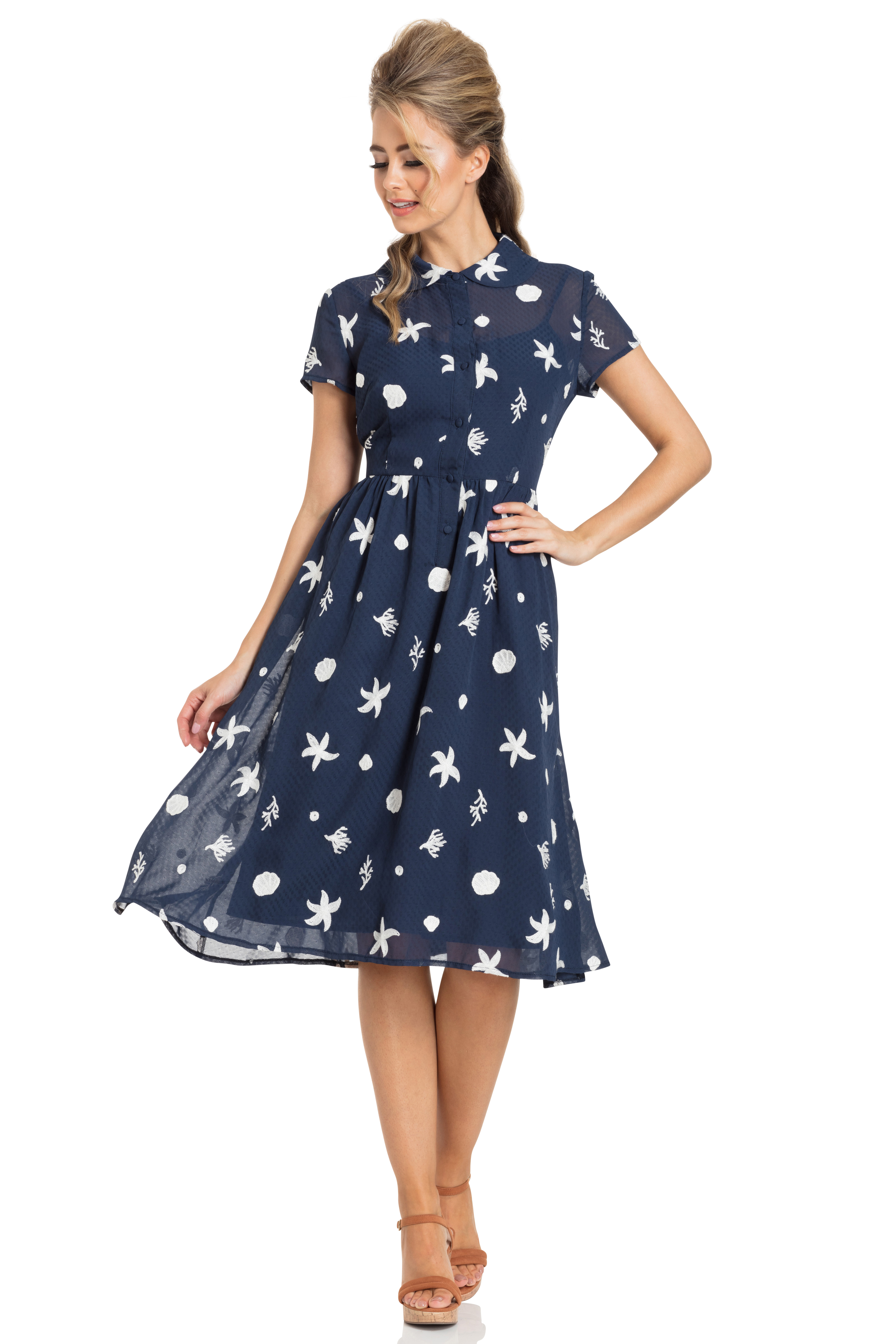 Mary Under-The-Sea Printed Swing Dress