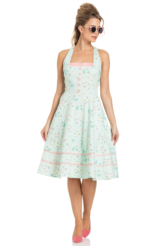 Eva Retro Scooter Print Flared Dress