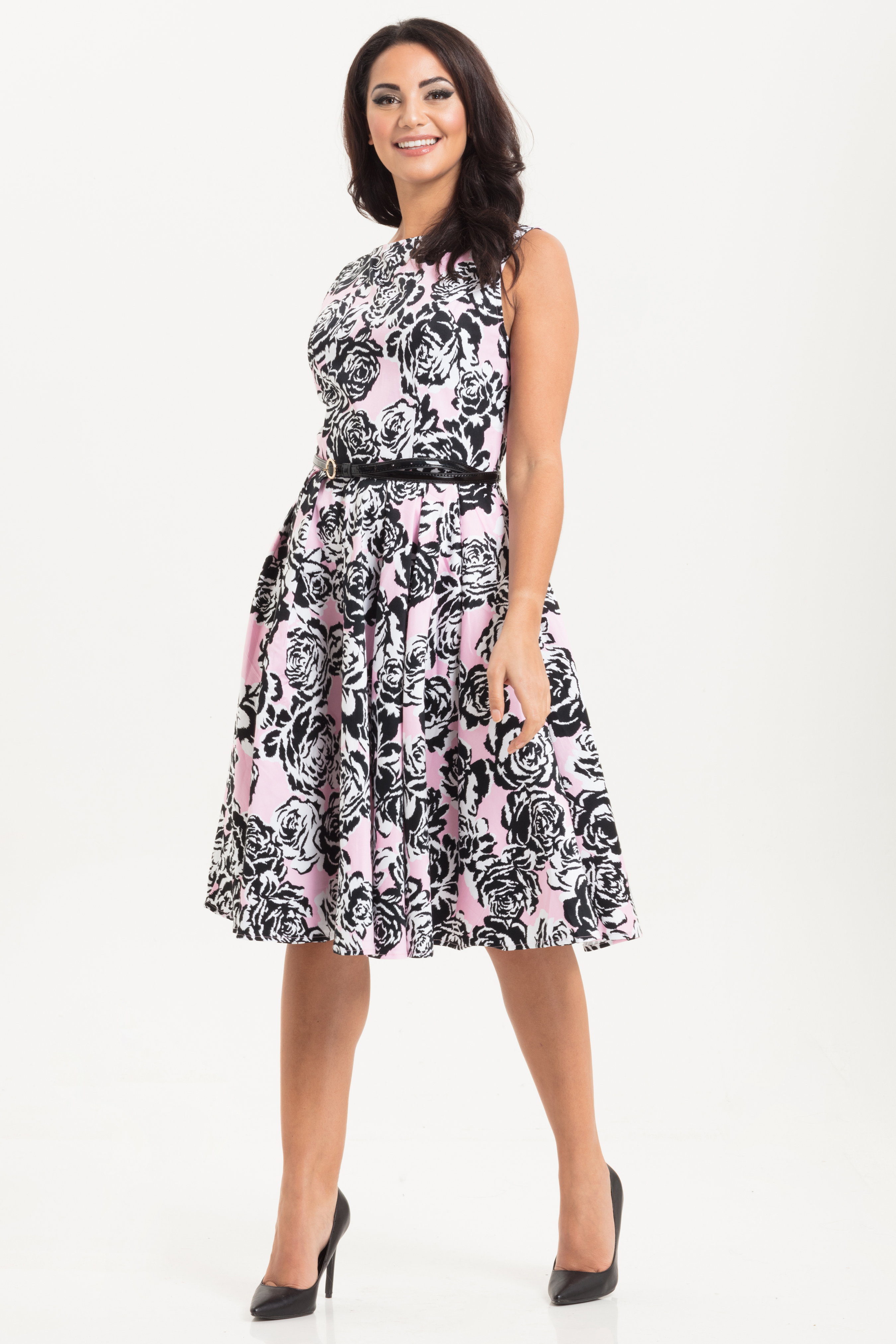 Sally Flared Floral Dress Pink