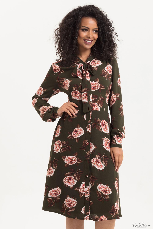 Voodoo Vixen Nora Floral 40s Style Tea Dress 1930s, 1940s, 1950s Vintage Inspire