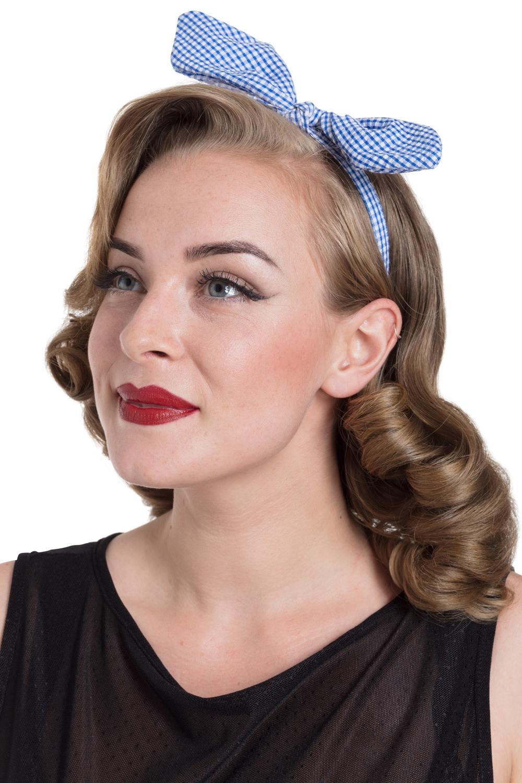 Bow Headband in Blue Gingham