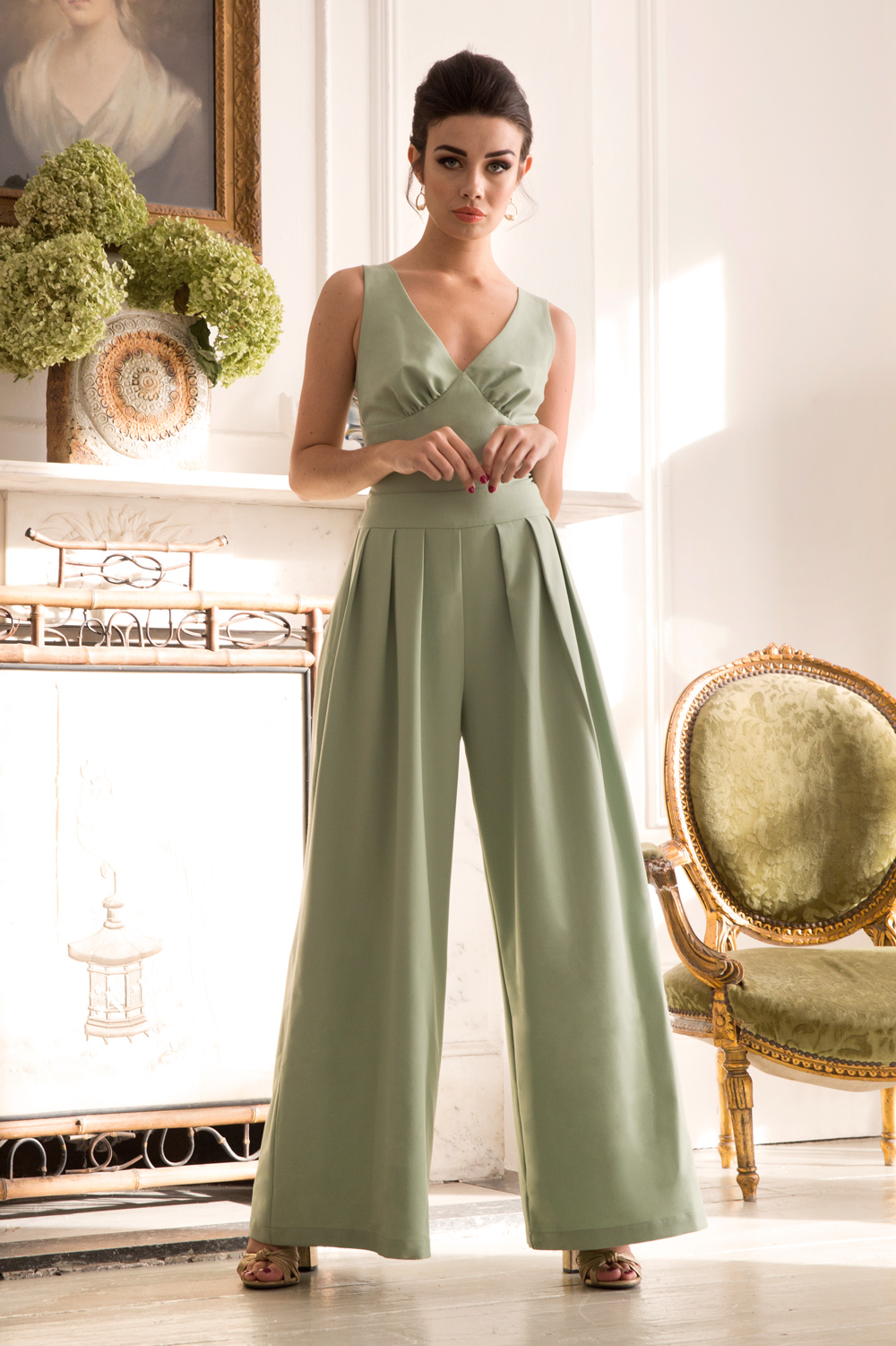 Mandy Super Wide Leg Green Jumpsuit