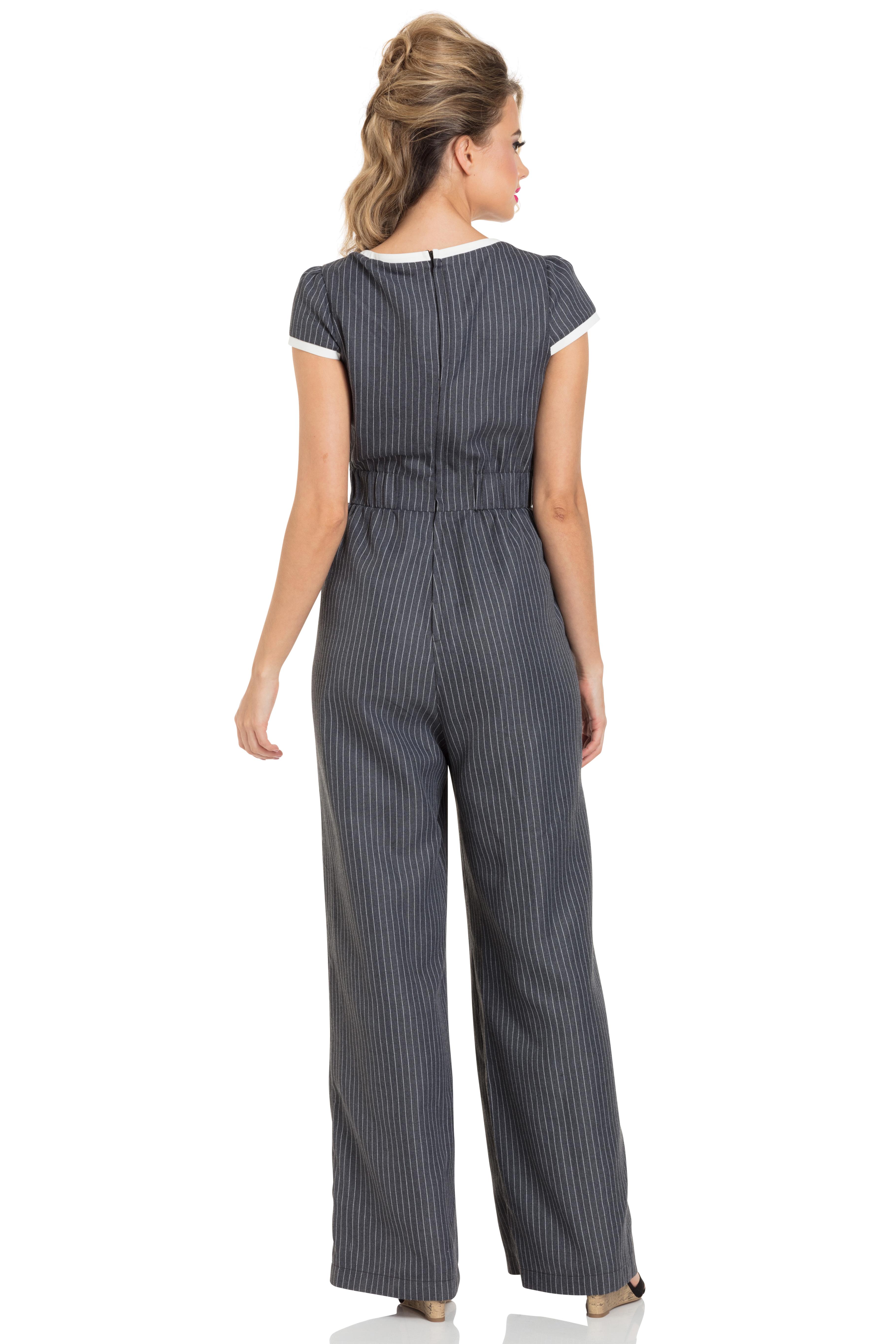 Leanne Grey Striped Jumpsuit